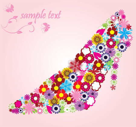 vector card with floral shoe and space for your text Çizim