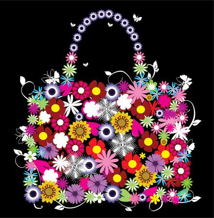 Bolsa floral vectorial Foto de archivo - 8891997