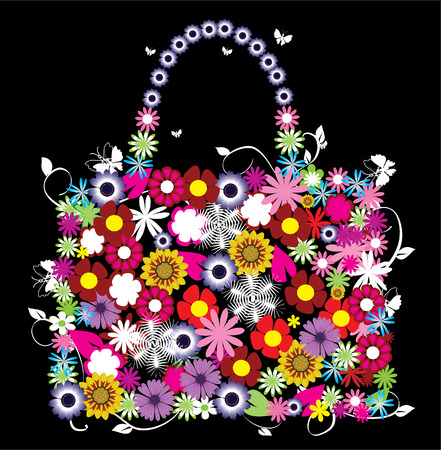 colored paper: vector floral bag