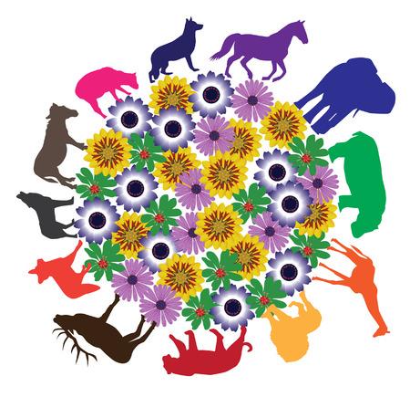 silueta tigre: siluetas de animales alrededor de la tierra floral de vectores