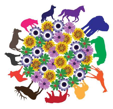 vector animal silhouettes around floral earth