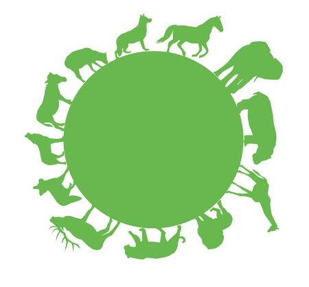 vector green animal silhouettes around green earth Vector
