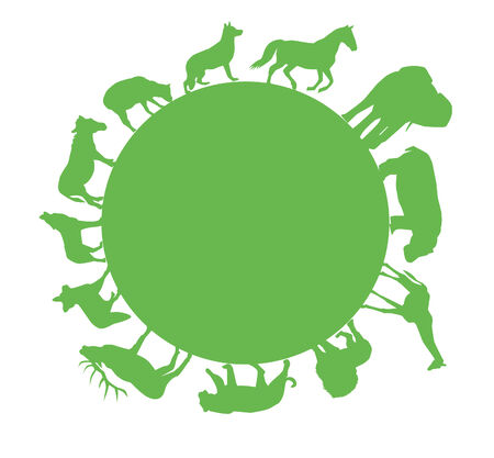 silhouettes: vector green animal silhouettes around green earth