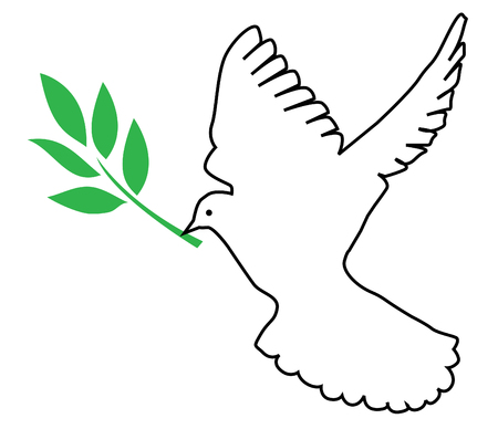vector dove with olive branch Vector