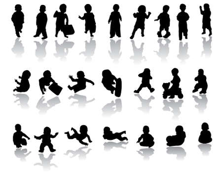 children silhouettes with reflection Vector