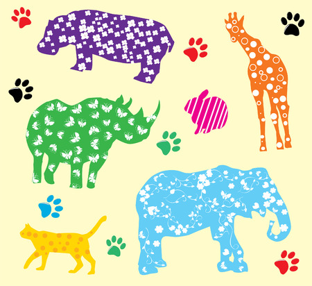 cartoon animals with different patterns Vector