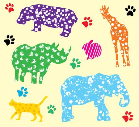 Cartoon dieren met verschillende patronen Stock Illustratie