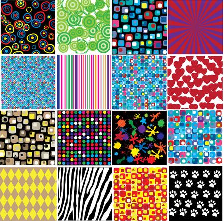 zestien verschillende patronen Vector