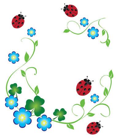 Vectro bloemen frame met shamrock en lieveheersbeestjes Stockfoto - 9003794