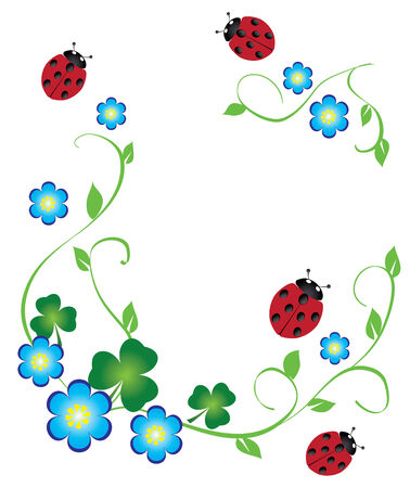 Vectro marco floral con shamrock y mariquitas Foto de archivo - 9003794