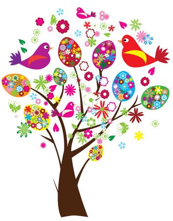 easter tree: vector Pasen boom met florale eieren en vogels