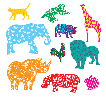 rhinoceros: vector cartoon animals with different patterns Illustration