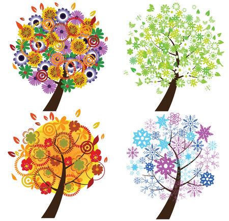 autumn flowers: vector season trees