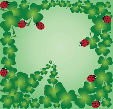 vector shamrock frame with ladybugs Vector