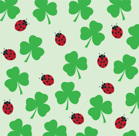vector shamrock background with ladybugs Vector
