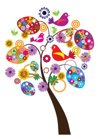 easter tree with floral eggs and birds