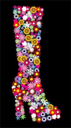 high: high female floral boot