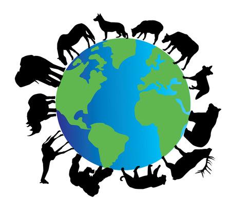 dierlijke silhouetten rond de planeet aarde Stock Illustratie