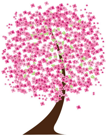 textured wall: cherry tree in blossom Illustration