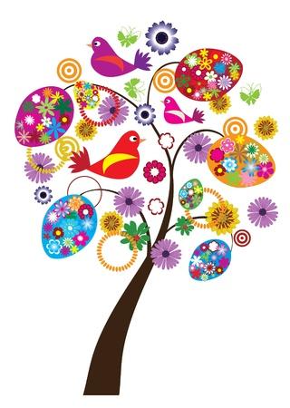 easter tree: Pasen boom met florale eieren en vogels Stock Illustratie