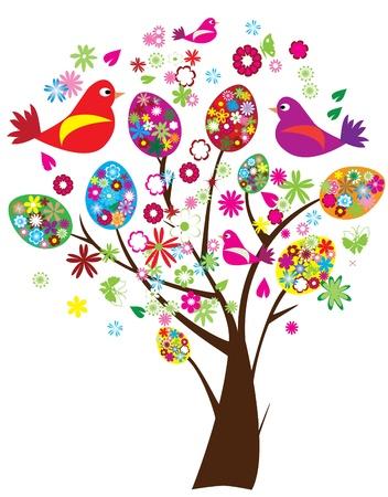 Arbre de Pâques avec les oeufs florales et oiseaux de vecteurs Banque d'images - 9183485