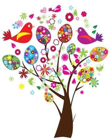 vector easter tree with floral eggs and birds