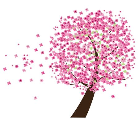 cherry tree in the wind Stock Vector - 9244351