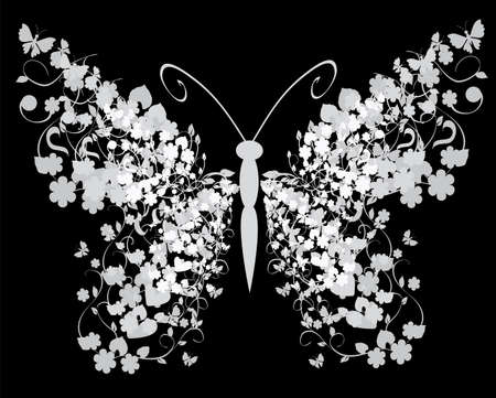 vector vintage floral butterfly on black background Vector