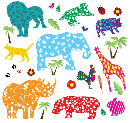 vector animals with patterns Ilustrace