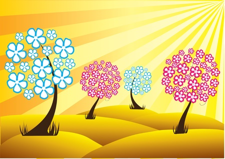 vector floral trees and sunlight Vector
