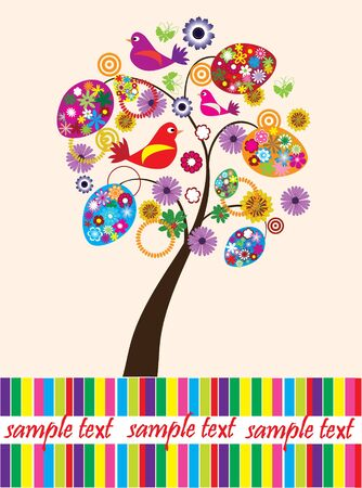 egg plant: vector card with easter tree and space for your text