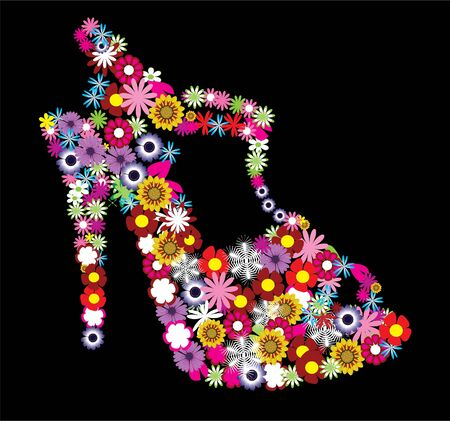 vector floral female shoe  Ilustrace