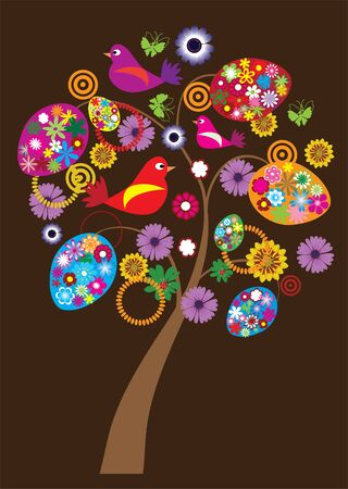 easter tree with floral eggs and birds Vector