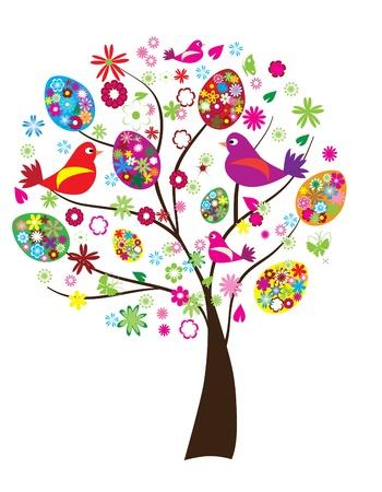 Pasen boom met florale eieren en vogels Stock Illustratie