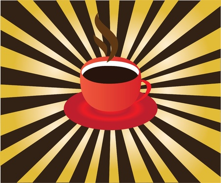 cup of coffee with sunburst background Vector