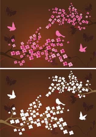 Zwei Kompositionen mit floralen Zweigen Standard-Bild - 9244368