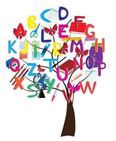 uppercase: alphabet tree with school supplies