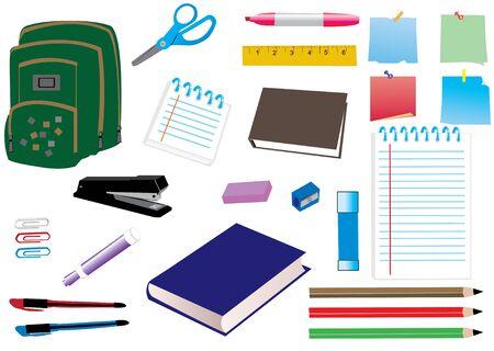 utiles escolares: fuentes de la escuela o la Oficina Vectores
