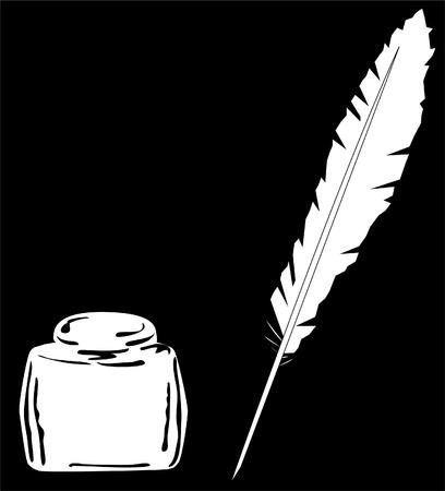 pluma de escribir antigua: tinta y pluma