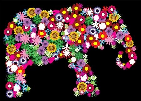 elefante: elefante floral Vectores
