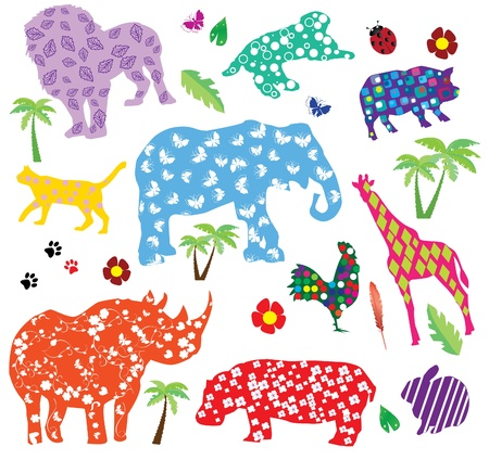animals with patterns Vector