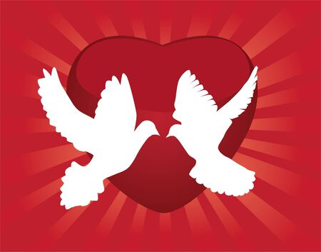 doves and red heart background Stock Vector - 9366572