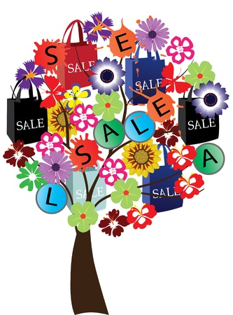 vector sale tree with shopping bags 일러스트