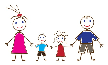 children group: vector funny people Illustration