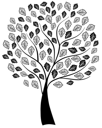 old fashioned: vector abstract tree with leaves