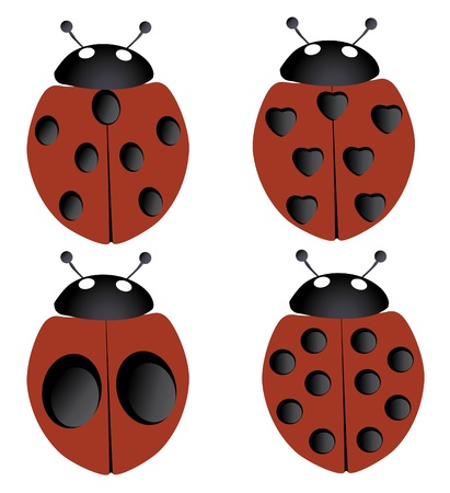 vector four ladybugs Ilustracja