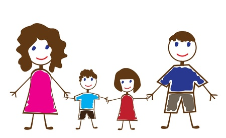 vector family of funny people Vettoriali