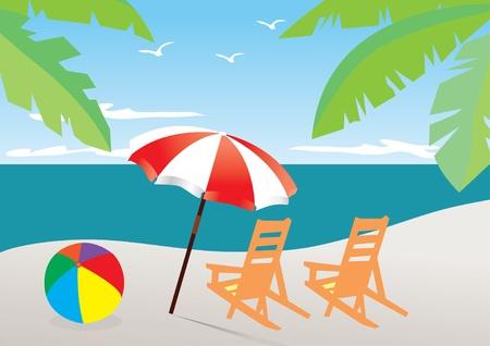 Playa de vector con paraguas y sillas Ilustración de vector