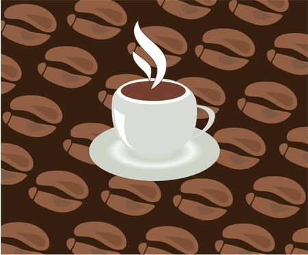 coffee beans background: cup of coffee with coffee beans background
