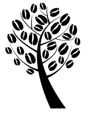 chicchi caff� su sfondo bianco: albero di caff� con chicchi di caff� Vettoriali